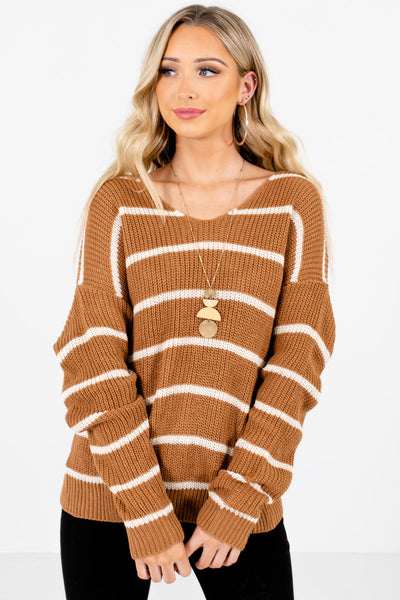 Women's Brown Subtle V-Neckline Boutique Sweater