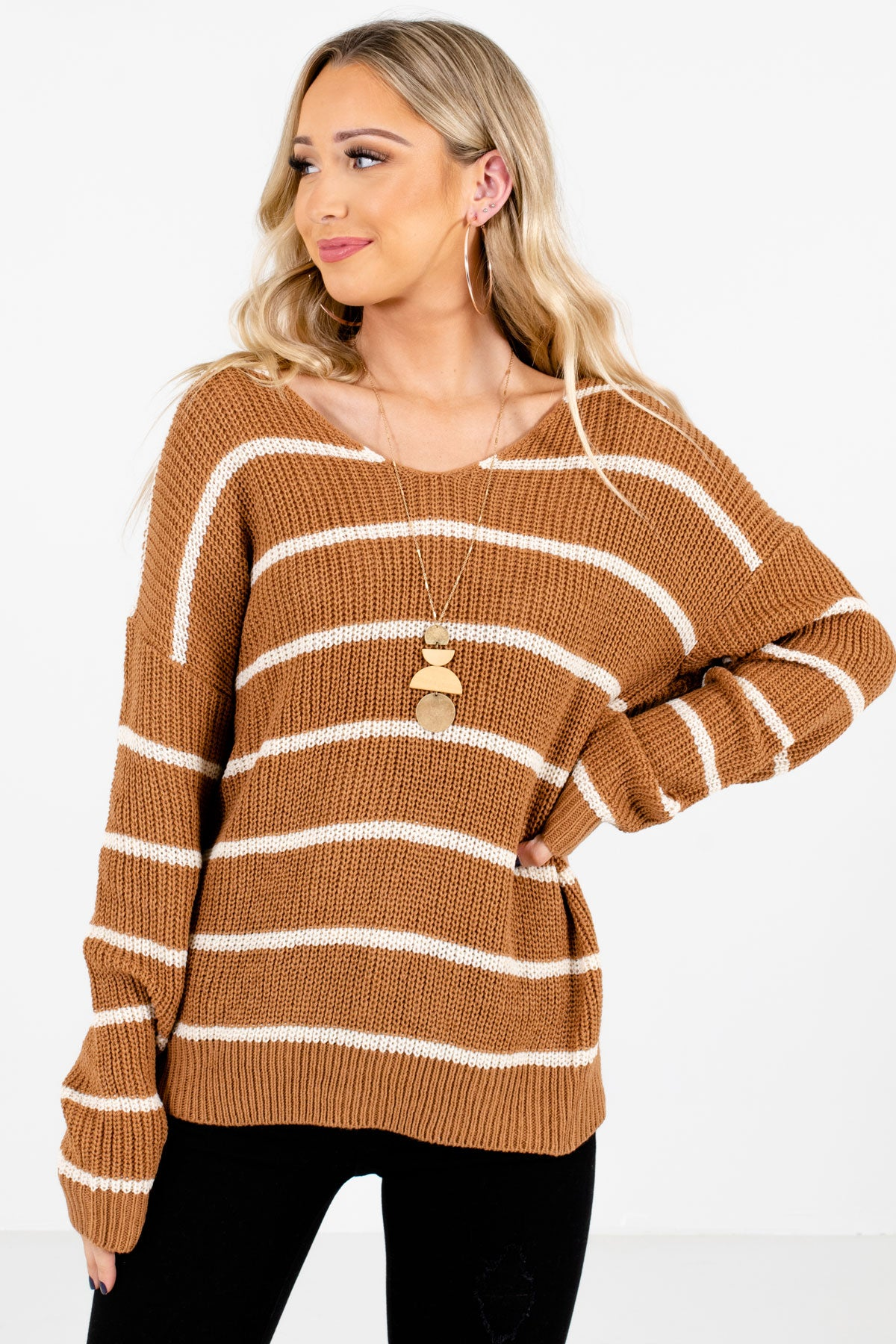 Brown and White Striped Boutique Sweaters for Women