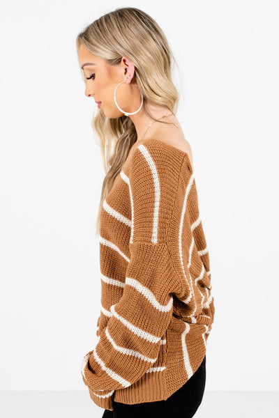 Brown Infinity Knot Back Boutique Sweaters for Women