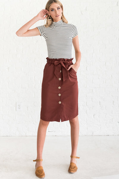 Brick Red Cute Dressy Skirts for Women