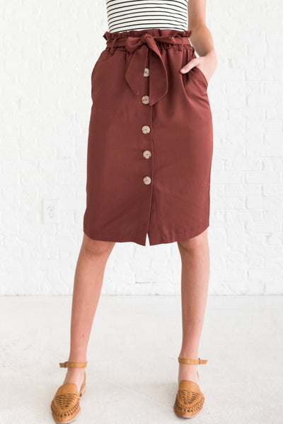 Brick Red Button-Up Knee-Length Women's Skirt