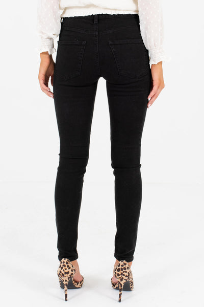 Women's Black O-Ring Zipper Boutique Skinny Jeans
