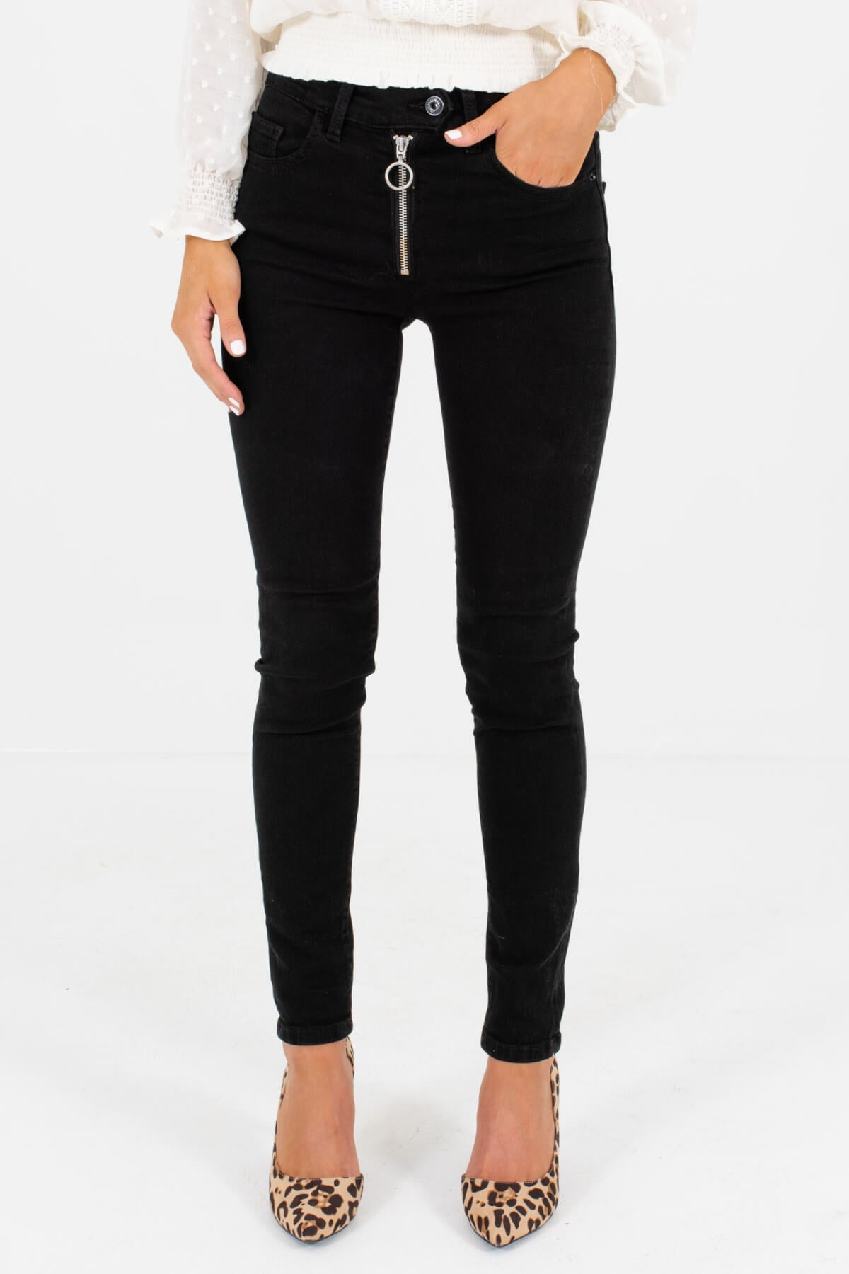 Black Denim Skinny Style Boutique Jeans for Women