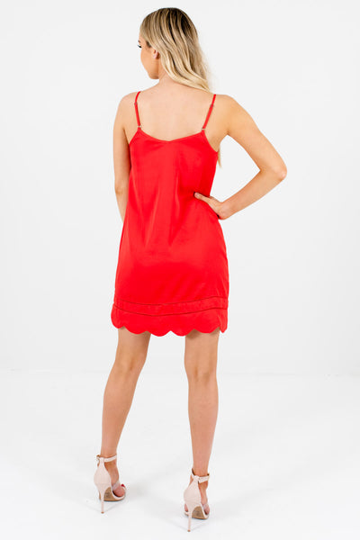 Red Satin Slip Dresses with Scalloped Hem and Ladder Lace Accents