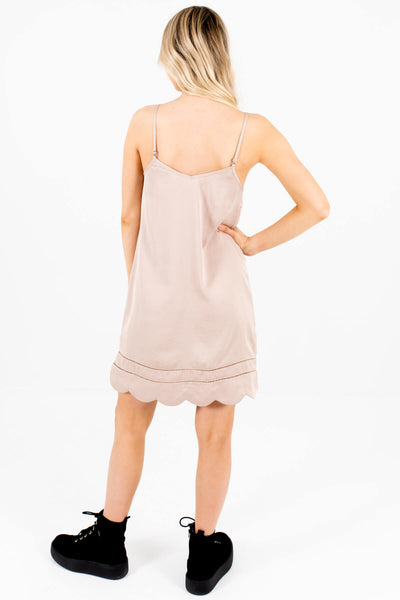 Taupe Brown Satin Mini Dresses with Scalloped Hem and Ladder Lace