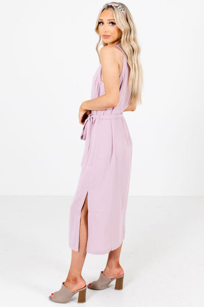 Women's Pink Fully Lined Boutique Midi Dress