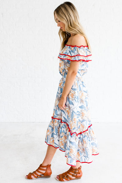White Ruffled Accent Boutique Midi Dresses for Women