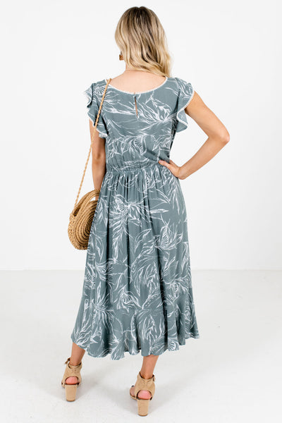 Women's Green Boutique Midi Dresses with Pockets