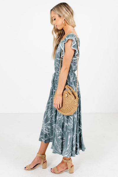 Green Ruffled Hem and Sleeves Boutique Midi Dresses for Women