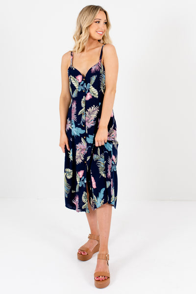 Navy Blue Patterned Cute and Comfortable Boutique Midi Dresses for Women