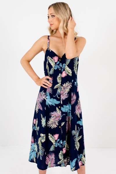 Navy Blue Multicolored Tropical Patterned Boutique Midi Dresses for Women