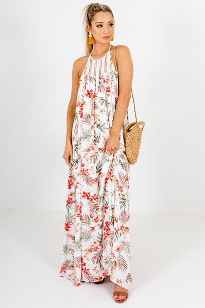 White Multicolored Tropical Patterned Boutique Maxi Dresses for Women