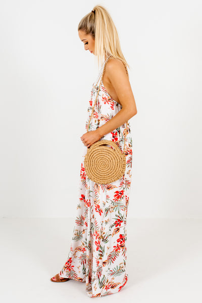 Women's White Patterned Open Back Boutique Maxi Dress