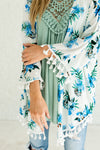 White and Blue Floral Flowy Boutique Kimonos for Women