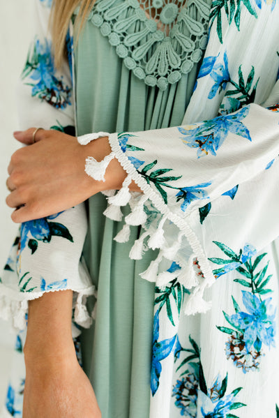 White and Blue Floral Affordable Online Boutique Clothing for Women