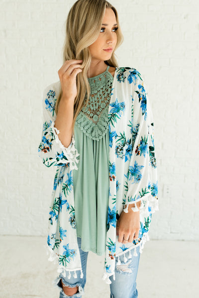 White Boutique Kimono with Blue, Green, and Red Floral Print for Women