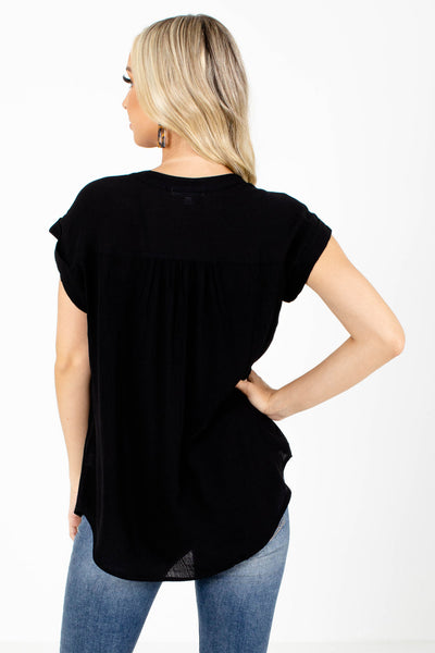 Women's Black Cuffed Sleeve Boutique Shirt
