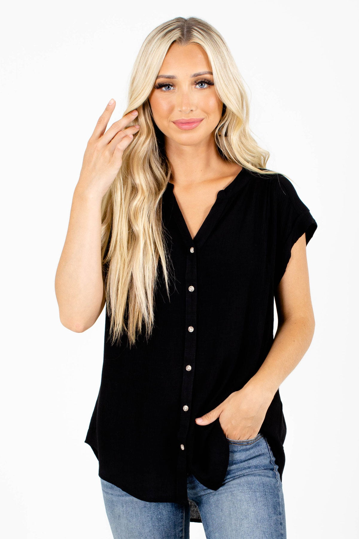 Black Pleated Accented Boutique Shirts for Women