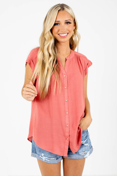 Coral Button-Up Front Boutique Tops for Women