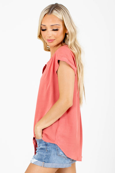 Women's Coral V-Neckline Boutique Shirt