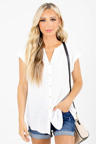 White Cute and Comfortable Boutique Shirts for Women
