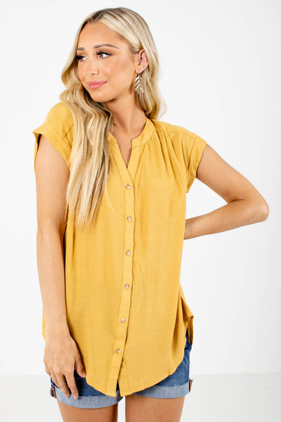 Yellow Lightweight Material Boutique Shirts for Women