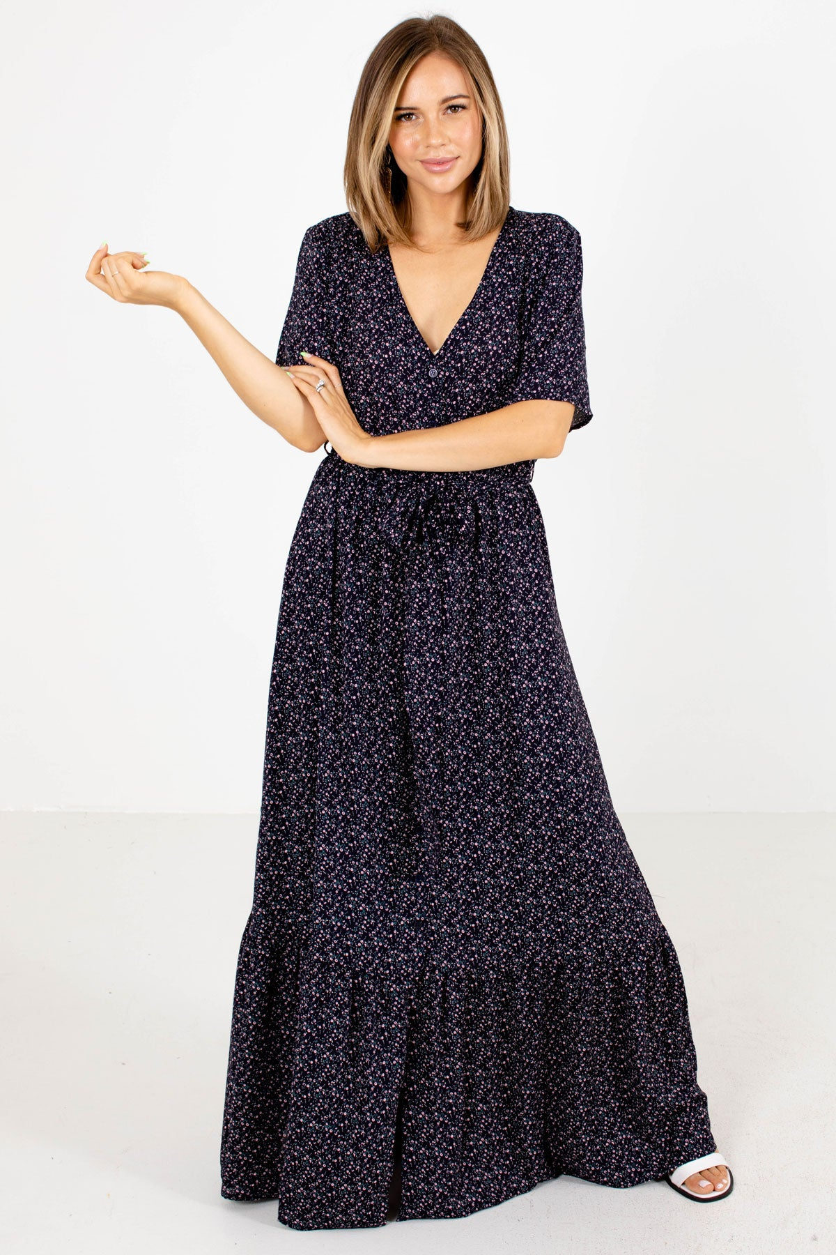 Navy Blue Multicolored Floral Patterned Boutique Maxi Dresses for Women