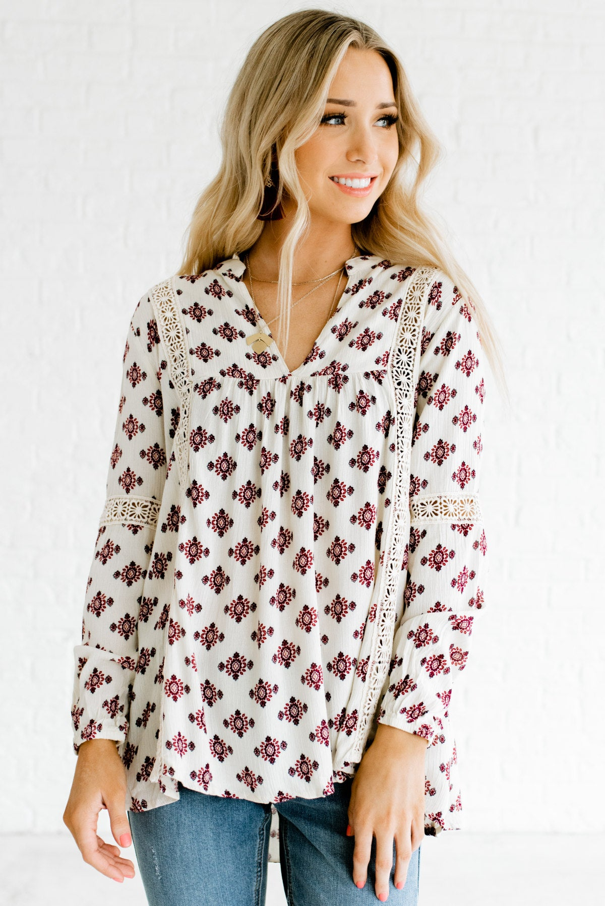 Cream White Patterned Boutique Blouses for Women