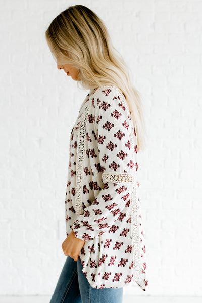 Cream Patterned High-Low Hem Boutique Blouses for Women