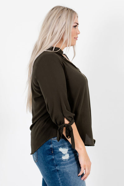 Olive Green Business Casual Boutique Blouses for Women