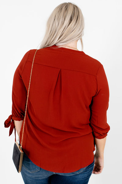 Women's Rust Red Self-Tie Sleeve Boutique Blouse