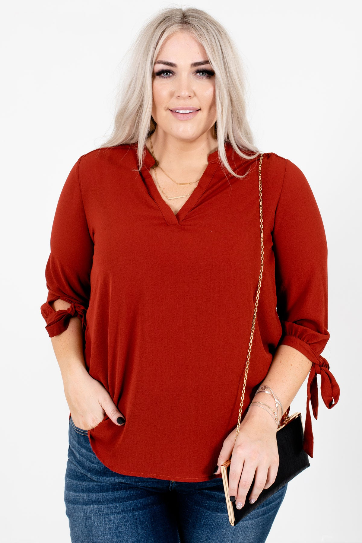 Rust Red Split V-Neckline Boutique Blouses for Women