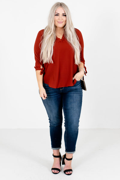 Rust Red Cute and Comfortable Boutique Blouses for Women