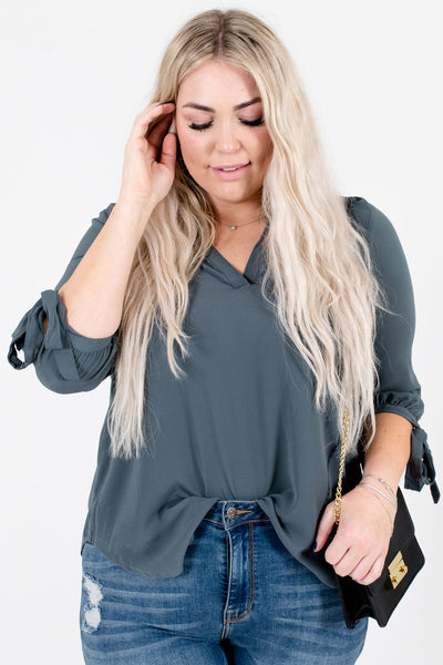 Light Teal Cute and Comfortable Boutique Blouses for Women