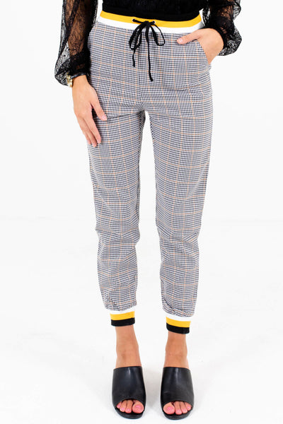 Black White and Yellow Plaid Patterned Boutique Pants for Women