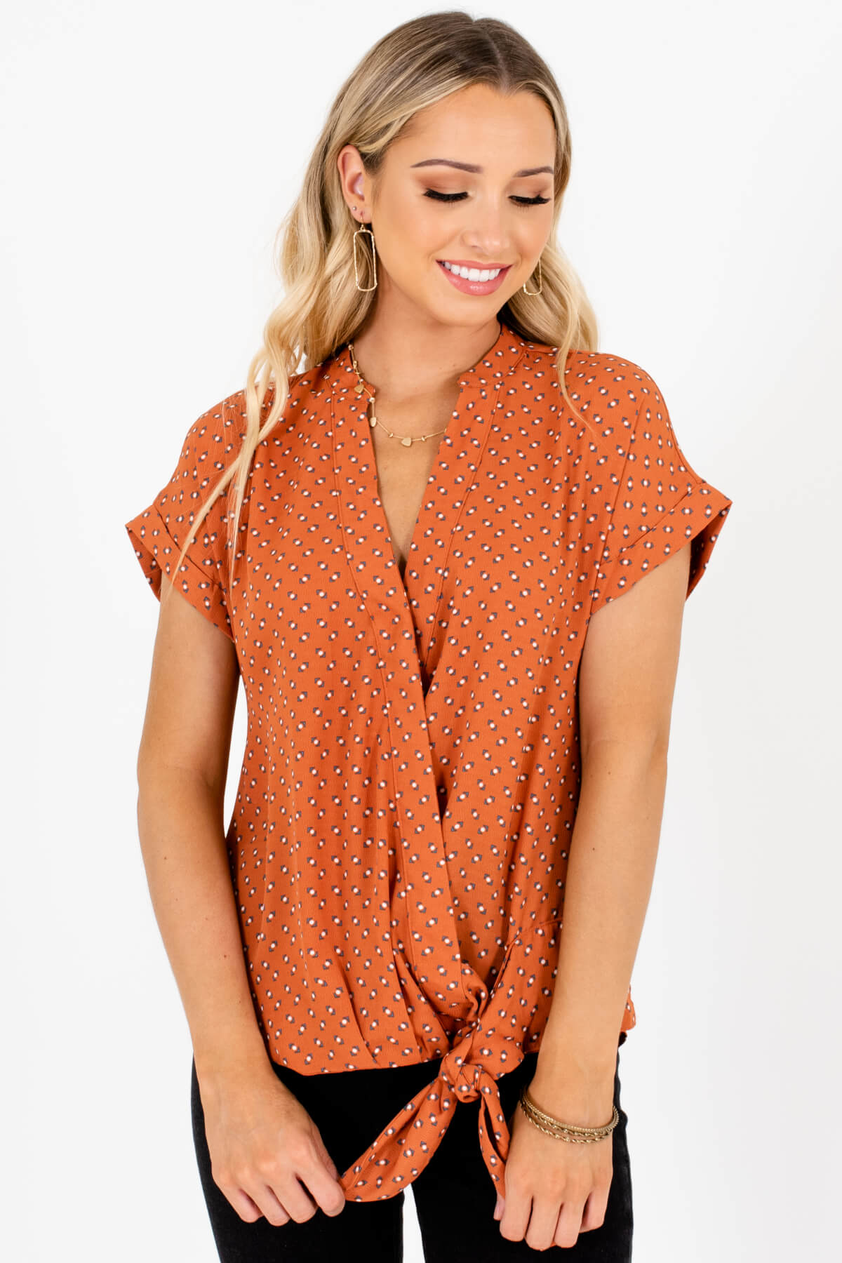 Burnt Orange Turquoise Geometric Pattern Wrap Blouses with Front Knot