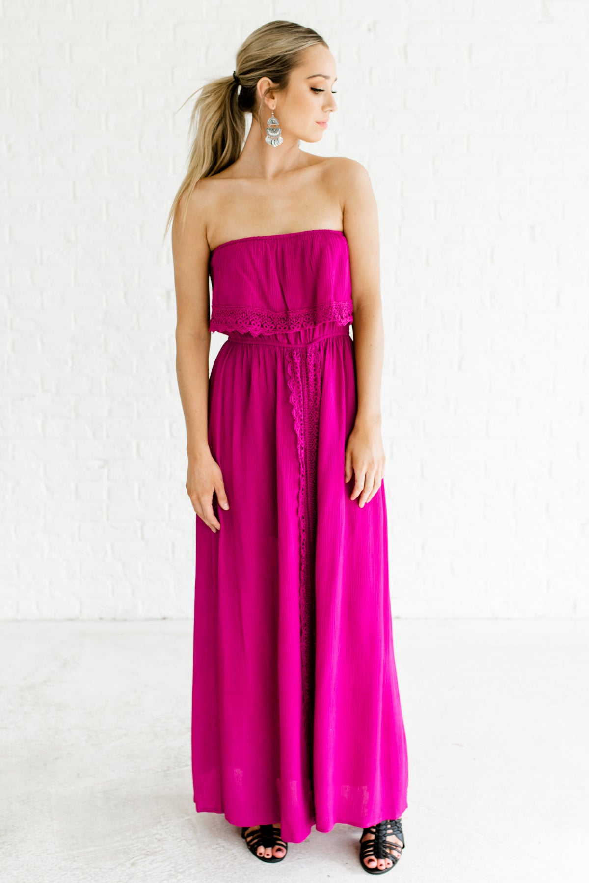 Magenta Pink Strapless Style Boutique Maxi Dresses for Women