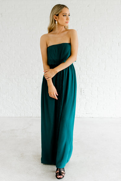 Teal Green Maxi Length Strapless Style Boutique Dresses for Women