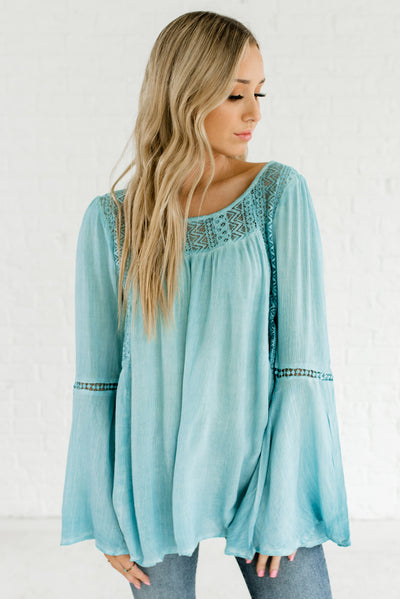 Turquoise Blue Lace Insert Bell Sleeves Peasant Tops and Blouses for Women