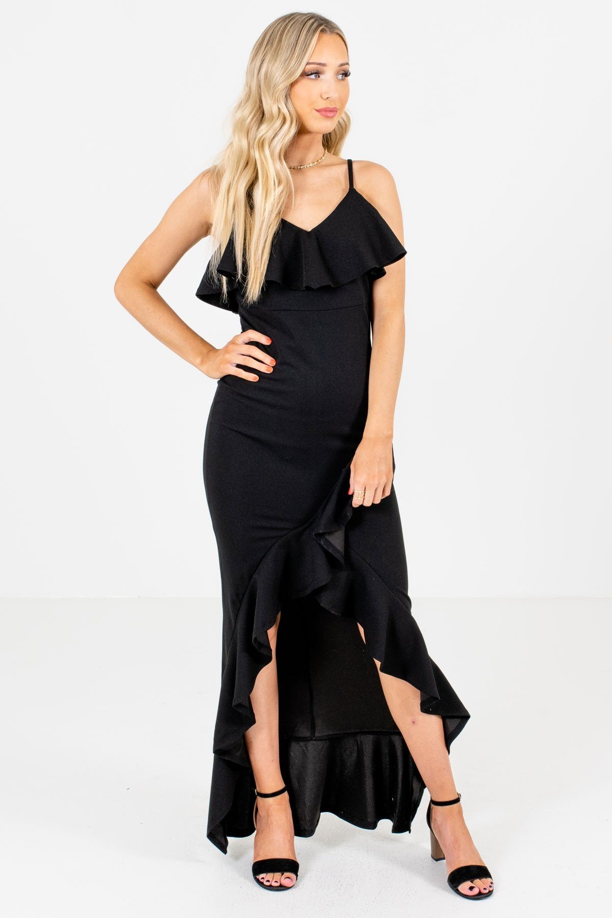 Black High Low Maxi Ruffle Dresses with Spaghetti Straps and Zipper Back