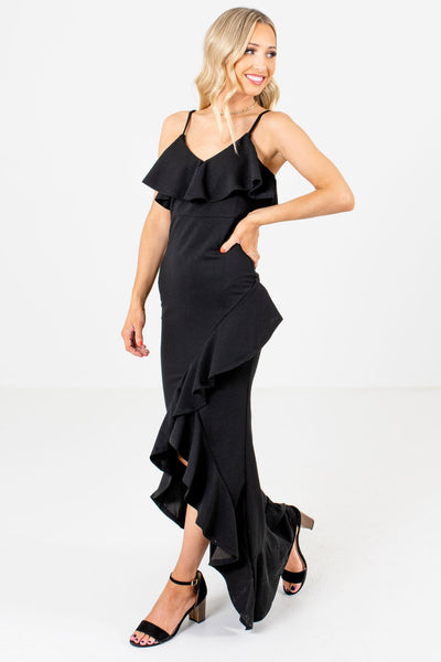 Black Long Maxi Length High Low Ruffled Hem Ruffle Dresses Affordable Online Boutique