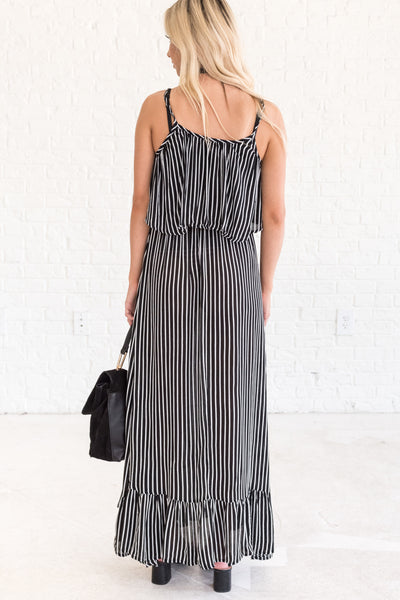 Black and White Striped Maxi Dress Floor Length