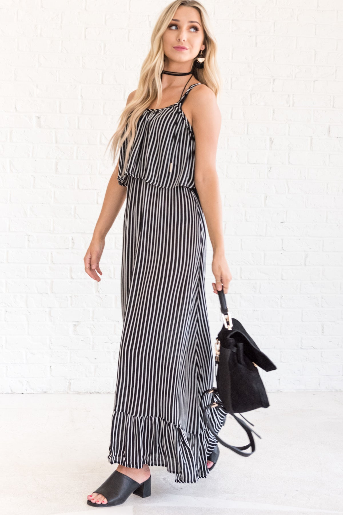 Black Striped Floor Length Maxi Dress with Ruffle Detail