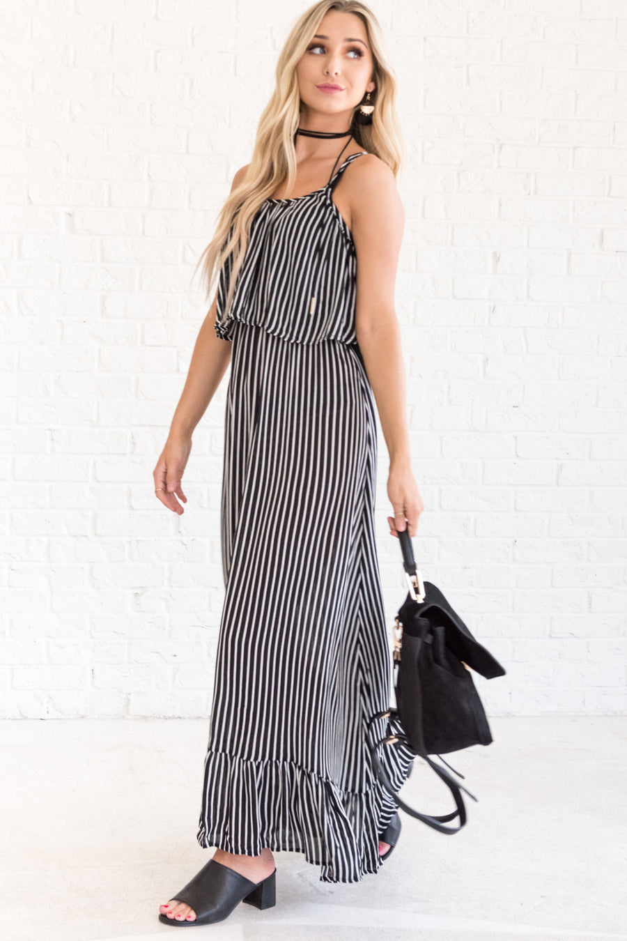 3f9700c4ab2 Under Your Spell Black Striped Maxi Dress