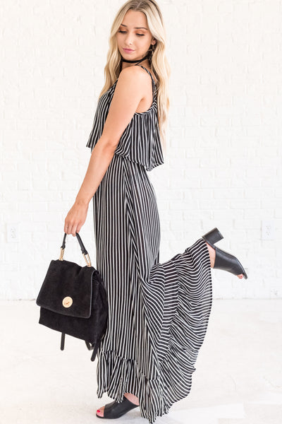 Black and White Striped Maxi Dresses for Women