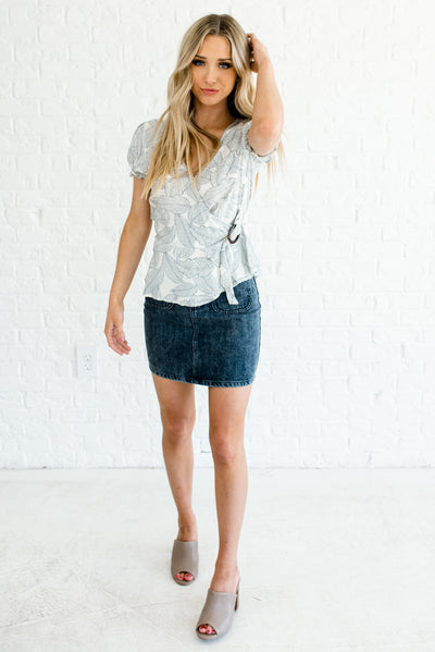 White and Navy Blue Flowy and Comfortable Cute Boutique Tops for Women