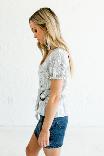 Cream and Navy Blue Peplum Style Hem Boutique Tops for Women