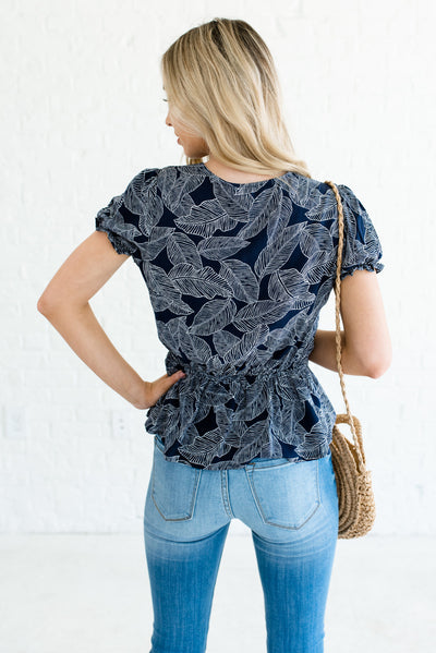Navy Blue and White Women's Wrap Style Boutique Tops