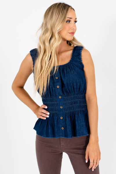 Blue Cute and Comfortable Boutique Tank Tops for Women