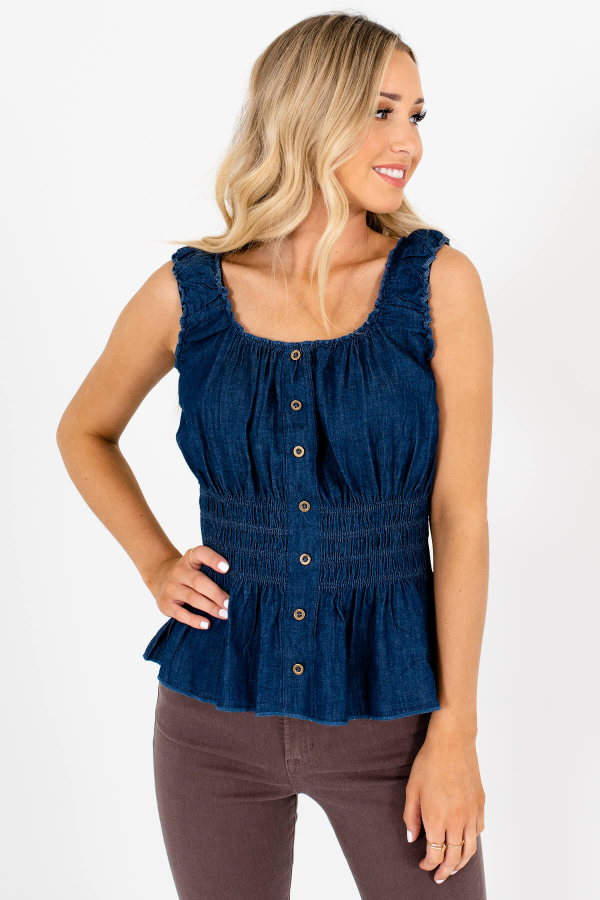 Blue Denim Decorative Button Boutique Tank Tops for Women